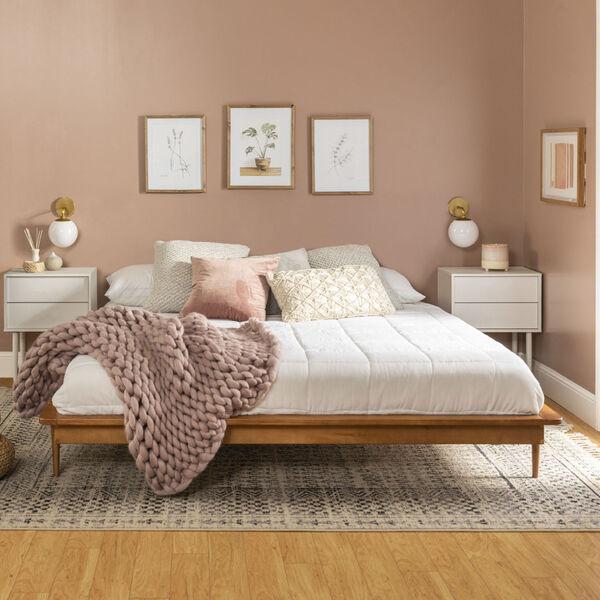 Caramel Wooden King Platform Bed, image 3
