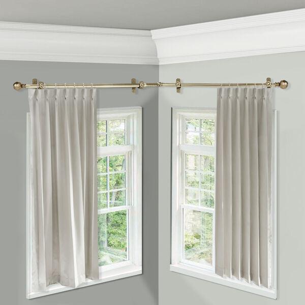 Christiano Antique Brass 48-Inch Corner Window Single Curtain Rod, image 2