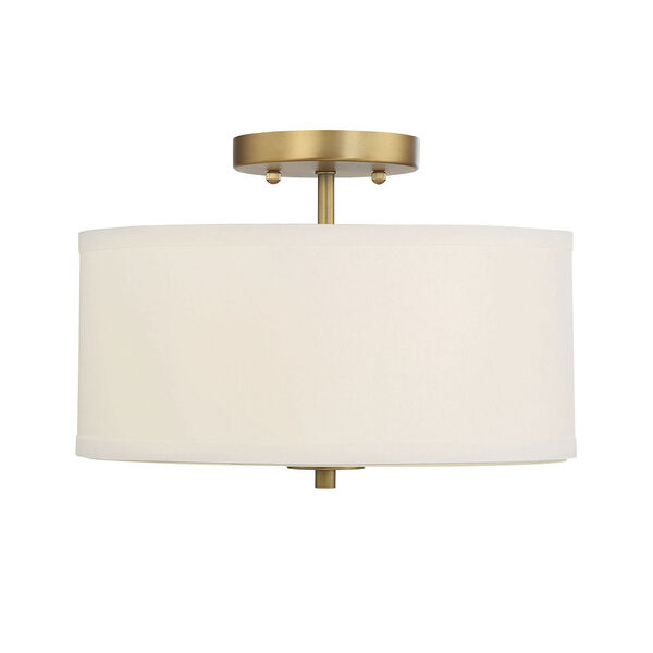 Selby Natural Brass Two-Light Semi Flush Mount with White Fabric Shade, image 1