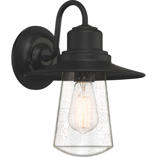 Radford Matte Black 10-Inch One-Light Outdoor Wall Sconce with Seedy Glass, image 1