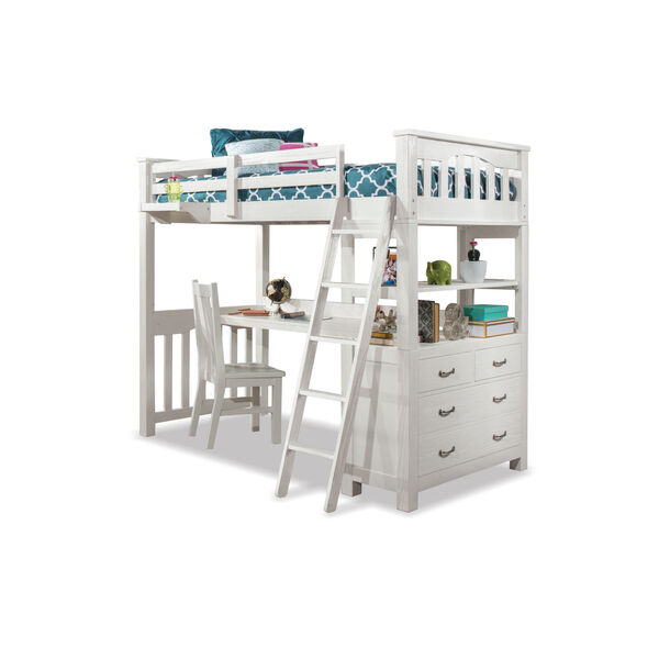 Highlands White Full Loft Bed With Desk, Chair And Hanging Nightstand, image 2