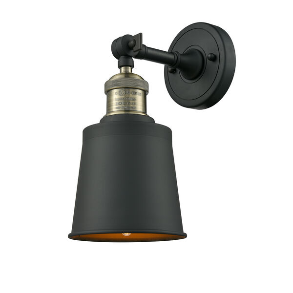 Addison Black Antique Brass Five-Inch One-Light Wall Sconce with Brushed Brass Metal Shade, image 1