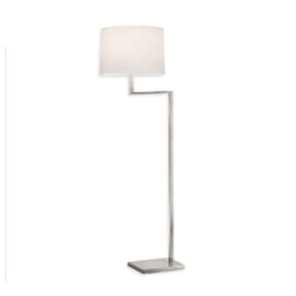Thick Thin One-Light - Satin Nickel with White Cotton Shade - Floor Lamp, image 1