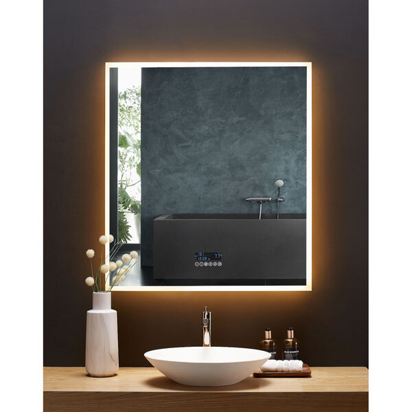 Immersion White 36 x 40 Inch LED Frameless Mirror with Bluetooth Defogger and Digital Display, image 2
