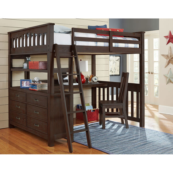 Highlands Espresso Full Loft Bed With Desk And Chair, image 1