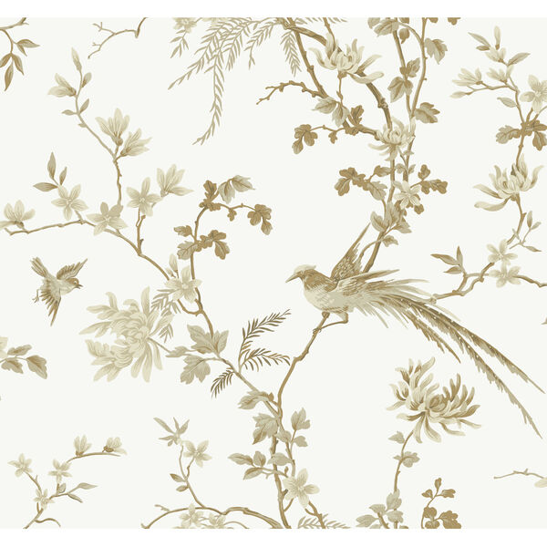 Ronald Redding 24 Karat White and Gold Bird And Blossom Chinoserie Wallpaper, image 2