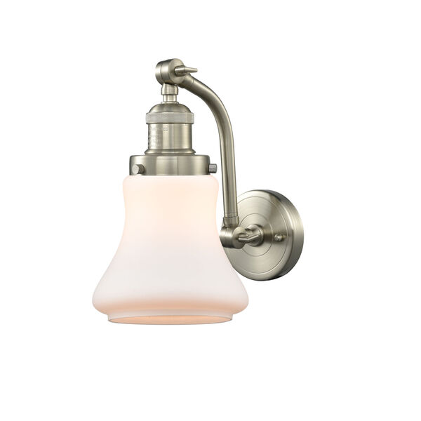 Franklin Restoration Brushed Satin Nickel 12-Inch LED Wall Sconce with Matte White Bellmont Shade, image 1