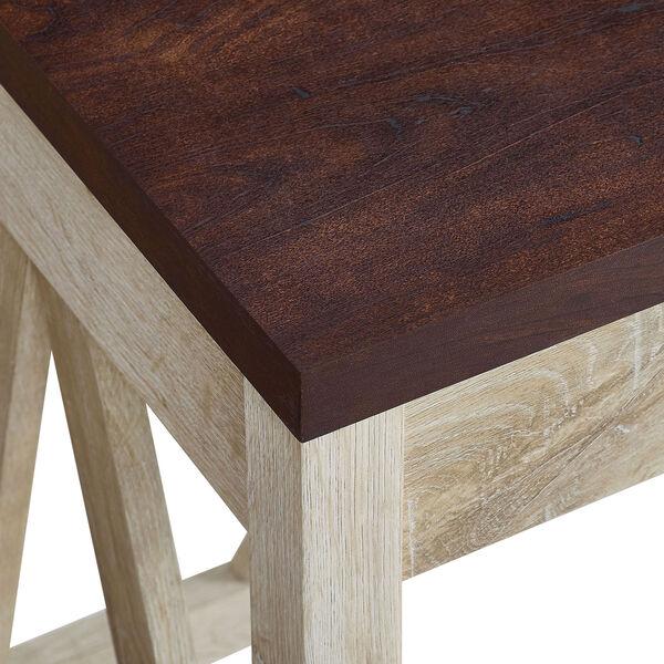 46-Inch A-Frame Desk, White Oak Base/Traditional Brown Top, image 3