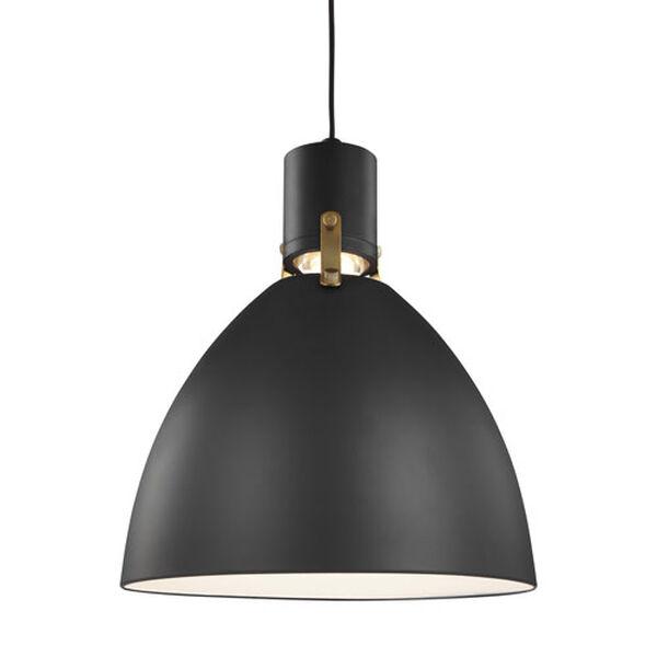 Knole Black 14-Inch LED Dome Pendant, image 1