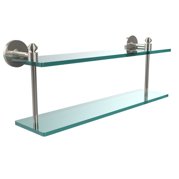 Southbeach Collection 22 Inch Two Tiered Glass Shelf, Polished Nickel, image 1