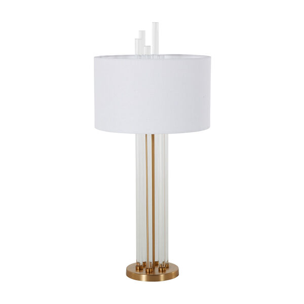 Merna Antique Brass and White One-Light Table Lamp, image 1