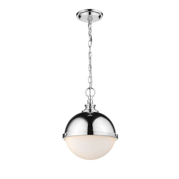 Peyton Chrome Two-Light Pendant With Opal Etched Glass, image 3