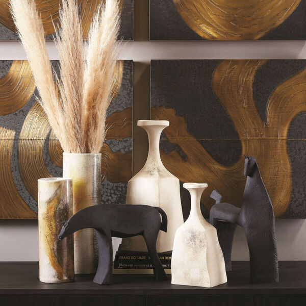 Matte Cream 5-Inch Rhombus Marble Vase, image 5
