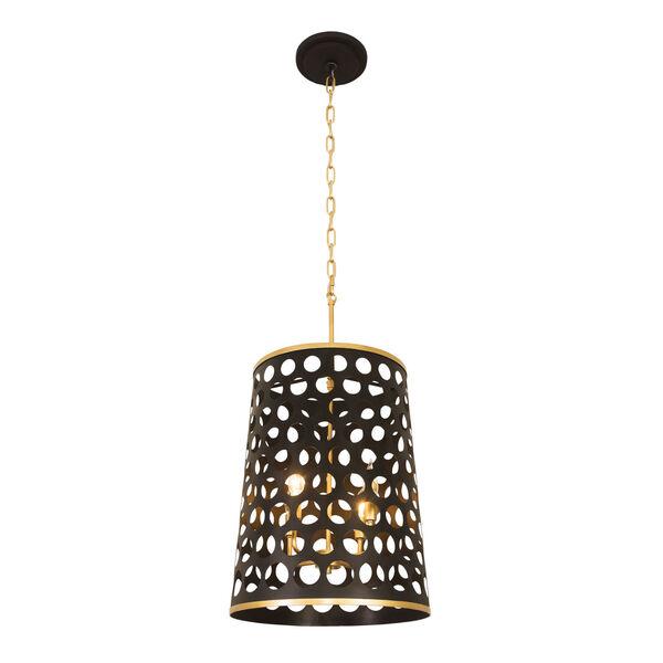 Bailey Matte Black French Gold Four-Light Pendant, image 3