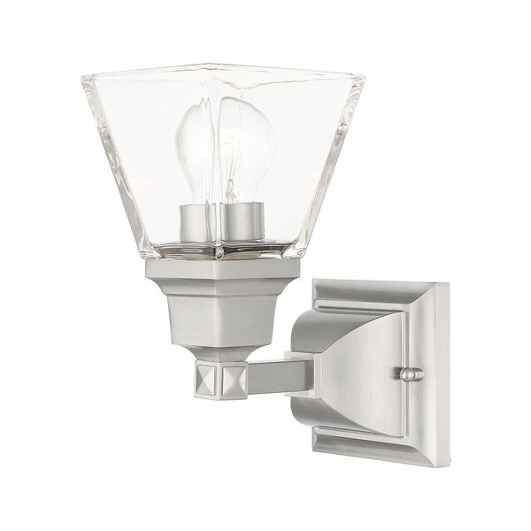 Mission Brushed Nickel One-Light Wall Sconce, image 1