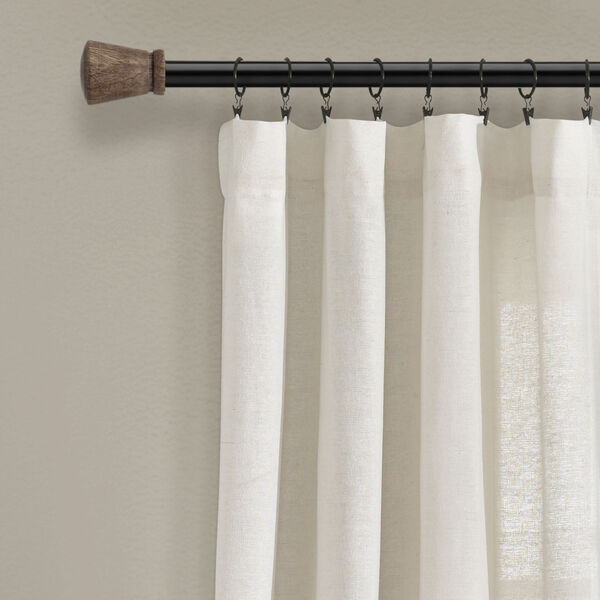 Linen Button Off White 40 x 84 In. Single Window Curtain Panel, image 2