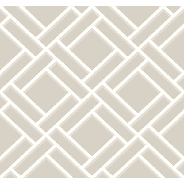 Lillian August Luxe Retreat Cove Gray and Fog Block Trellis Unpasted Wallpaper, image 2