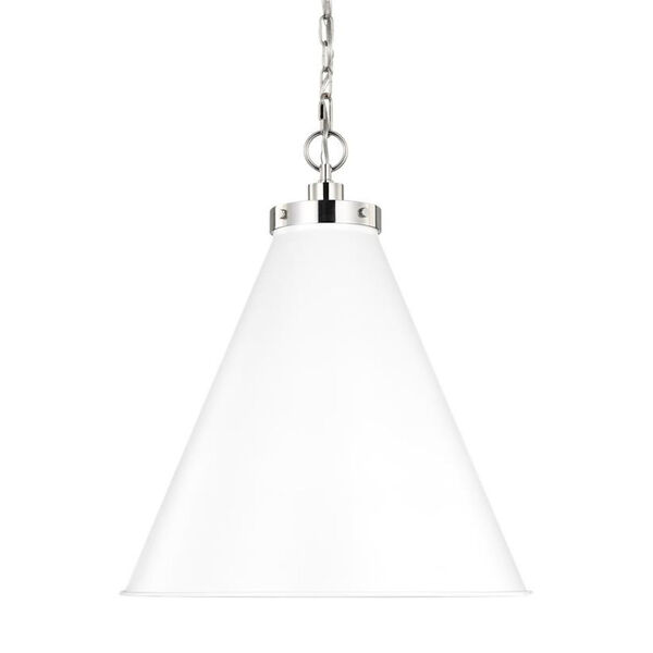 Wellfleet Matte White and Silver 20-Inch One-Light Pendant, image 4