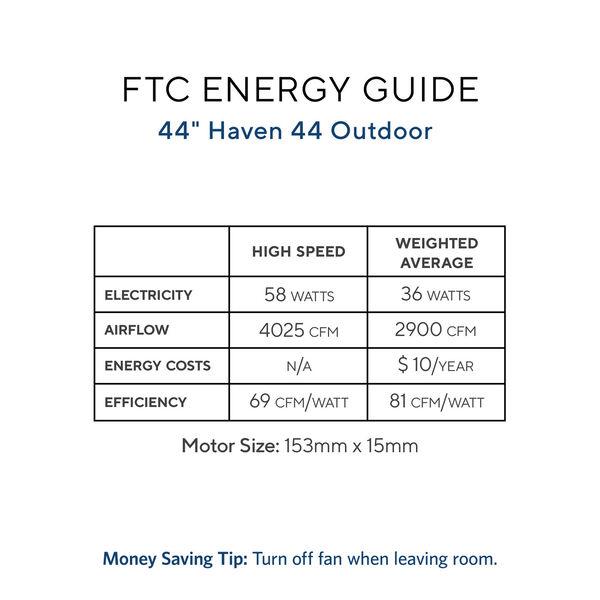 Haven Matte Black 44-Inch Outdoor Ceiling Fan, image 2
