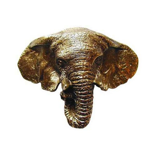 Antique Brass Goliath Elephant Bin Pull, image 1