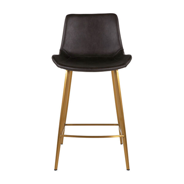Hines Charcoal Brown and Stainless Gold 26-Inch Counter Height Stool, image 2