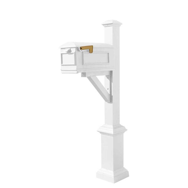 Westhaven White Support Bracket Mounted Mailbox Post, image 1