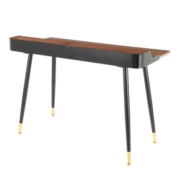 Harvey Black, Walnut Wood and Gold Writing Desk, image 3