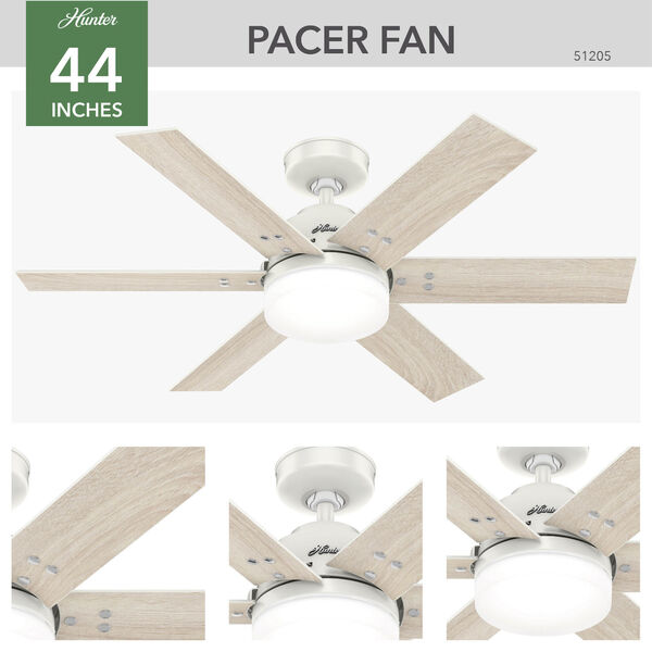 Pacer Fresh White 44-Inch Two-Light LED Ceiling Fan, image 3