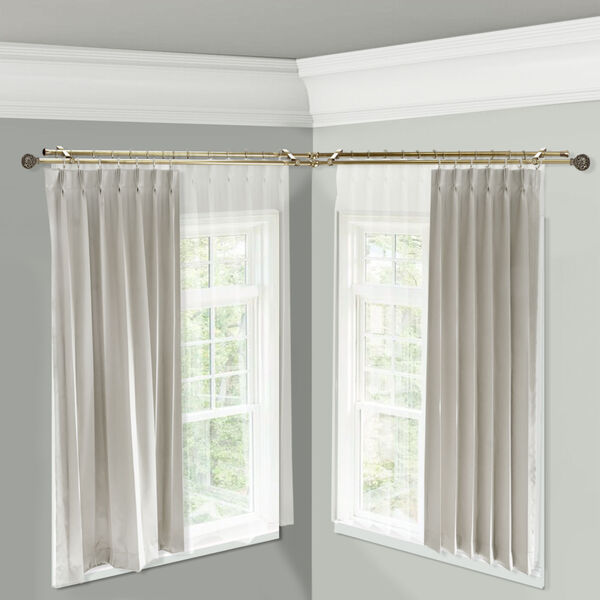 Leanette Antique Brass 120-Inch Corner Window Double Curtain Rod, image 2