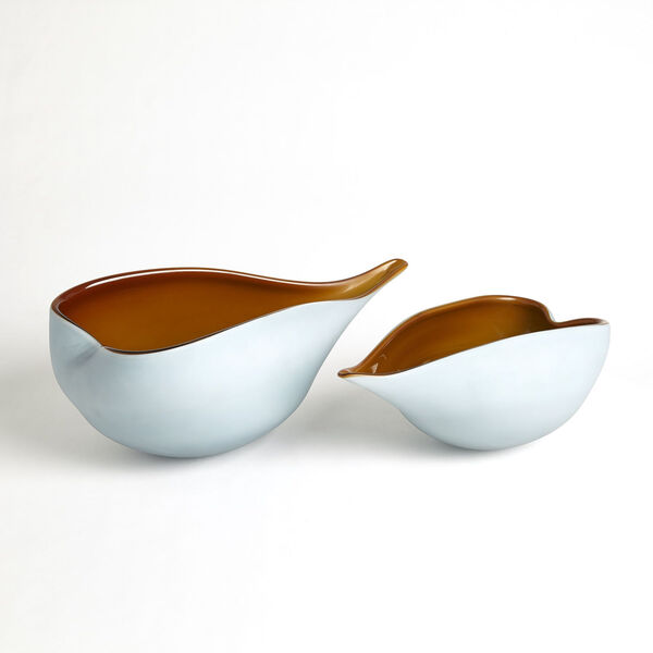 Frosted Blue and Amber 10-Inch Decorative Bowl, image 4