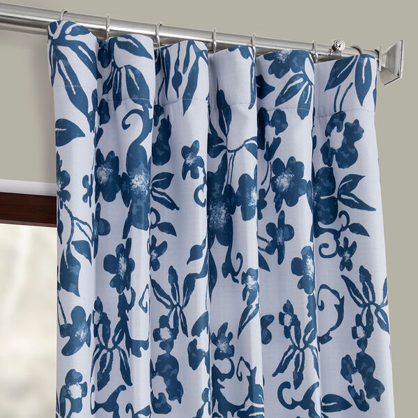 Blue Printed 108 x 50-Inch Polyester Blackout Curtain Single Panel, image 2