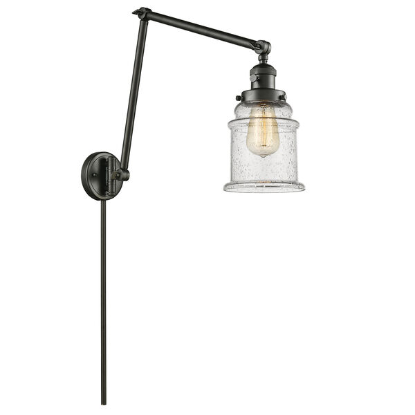 Canton Oiled Rubbed Bronze 30-Inch LED Swing Arm Wall Sconce with Seedy Bell Glass, image 1