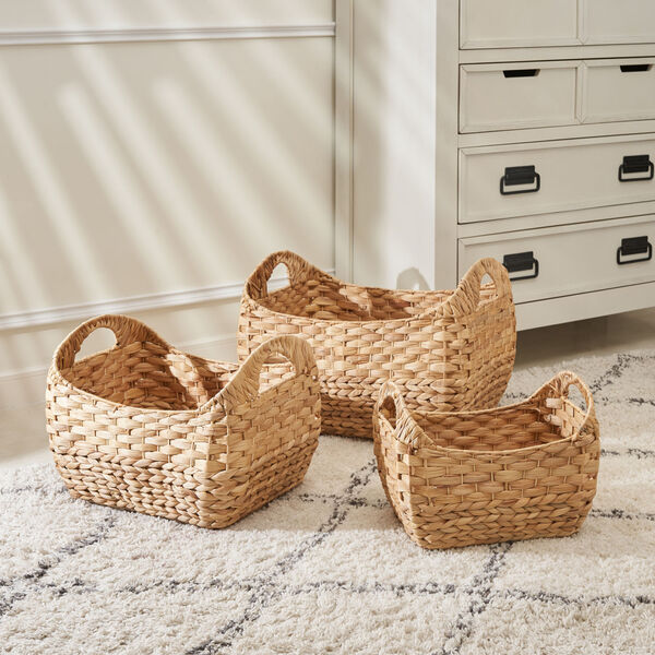 Amelia Sandy Three-Piece Water Hyacinth Picnic and Grocery Basket Set with Handles, image 1