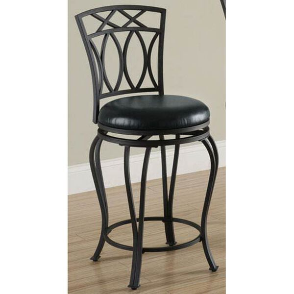 24-Inch Elegant Metal Counter Stool with Black Faux Leather Seat, image 1