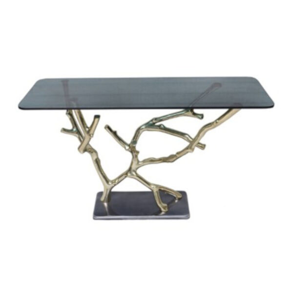 Polished Gold and Black Console Table, image 1