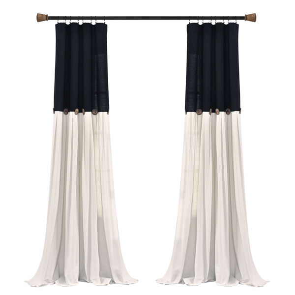 Linen Button Black and White 40 x 95 In. Single Window Curtain Panel, image 6