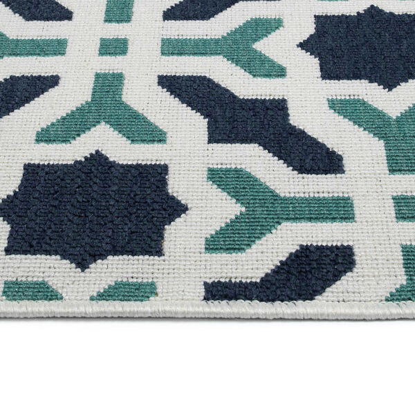 Puerto White and Blue Pattern Indoor/Outdoor Rug, image 4