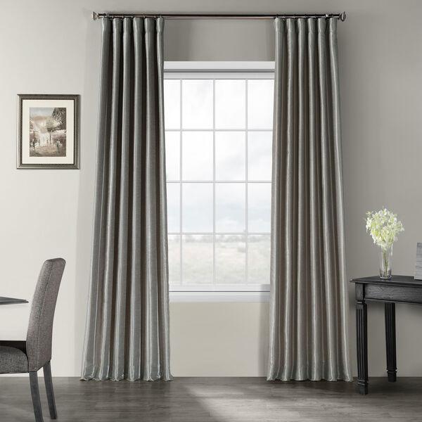 Silver Vintage Textured Faux Dupioni Silk Single Panel Curtain, 50 X 84, image 1