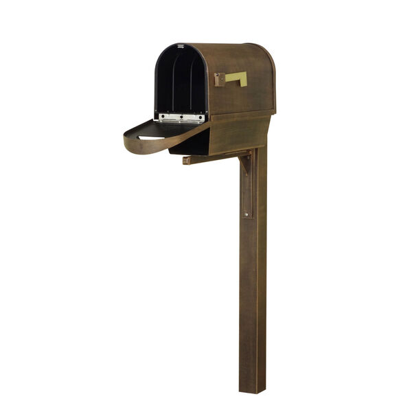 Classic Curbside Copper Mailbox with Newspaper Tube and Wellington Mailbox Post, image 3