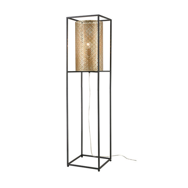 Gavia Antique Gold and Black One-Light Floor Lamp, image 1
