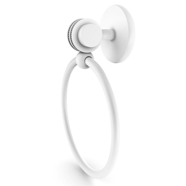 Satellite Orbit Two Matte White Four-Inch Towel Ring with Dotted Accents, image 1