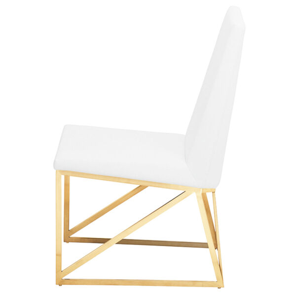 Caprice White and Gold Dining Chair, image 3