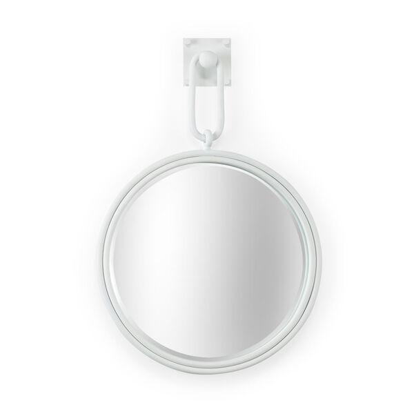 Grenada Matte White Round Wall Mirror with Iron Frame, image 1