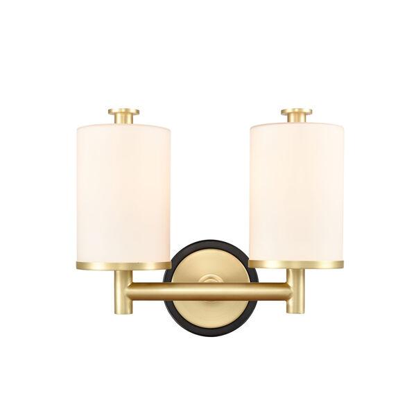 Marlowe Matte Black Satin Brass Two-Light LED Bath Vanity, image 1