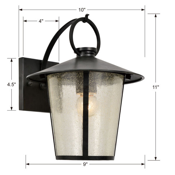 Andover Matte Black One-Light Outdoor Wall Mount, image 3
