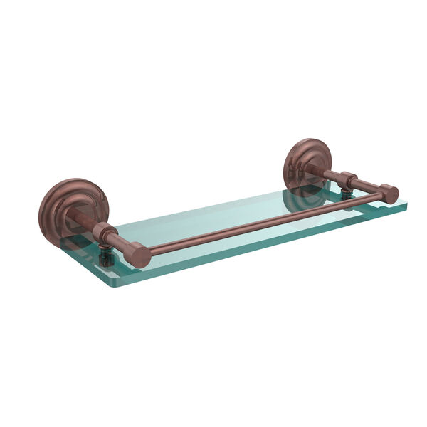 Que New 16 Inch Tempered Glass Shelf with Gallery Rail, Antique Copper, image 1