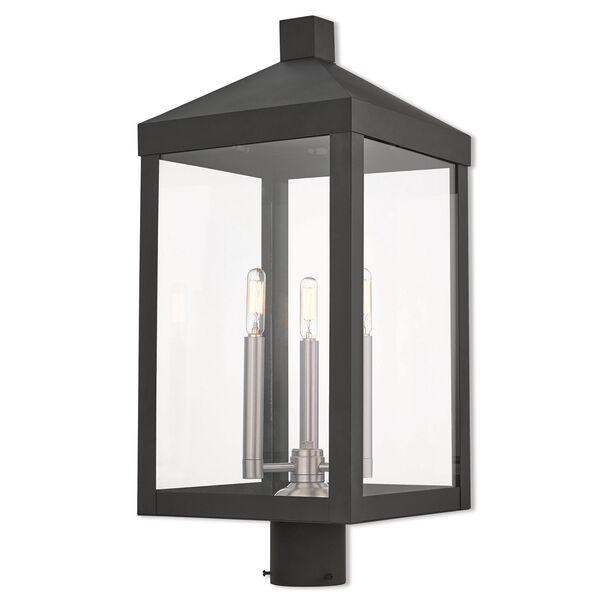 Nyack Black 11-Inch Three-Light Outdoor Post Top Lantern, image 1
