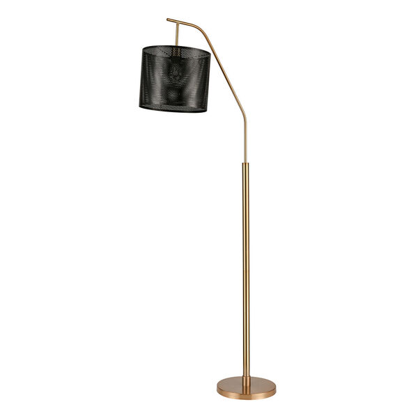 Decker Gold Aged Brass Black One-Light Floor Lamp, image 2