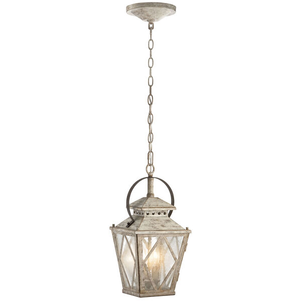 Hayman Bay Two-Light Distressed Antique White Interior Lantern Pendant, image 1