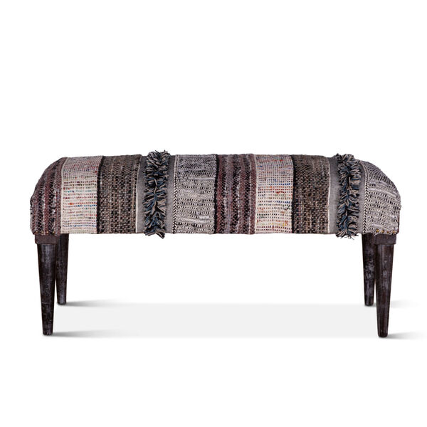 Algiers Gray and Black Accent Bench, image 1